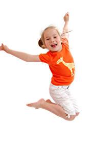 Фотографии Белым фоном Девочки Прыгает Руки Счастливый Дети
