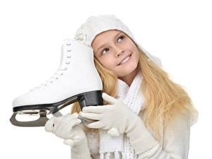 Фотографии Белый фон Девочки Улыбка Коньки Перчатки Дети