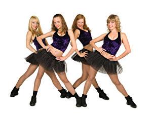 Фотография Белым фоном Униформа Ноги Танцует Девушки