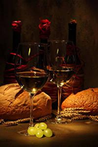 Фото Вино Хлеб Виноград Бутылка Бокалы Колос