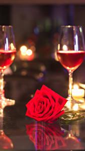 Фото Вино Свечи Розы Бокалы Бутылка Красный Пища