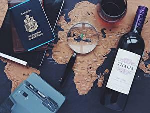 Картинки Вино География Бутылка Увеличительное стекло Английский Туризм