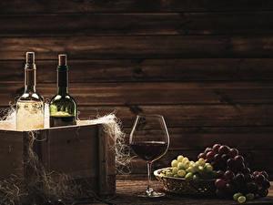Фото Вино Виноград Бутылка Бокалы