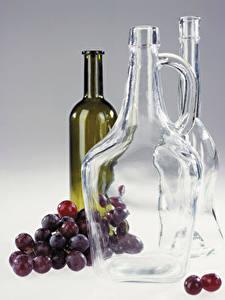 Фотографии Вино Виноград Бутылка Еда