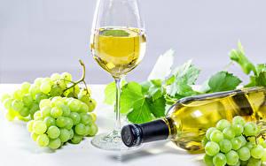 Фото Вино Виноград Бутылки Бокалы Пища