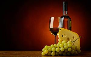Фотография Вино Виноград Сыры Бокал Бутылка Пища