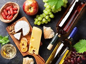 Обои Вино Виноград Сыры Продукты питания