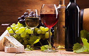 Фотографии Вино Виноград Сыры Бокал Бутылки Пища