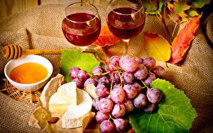 Обои Вино Виноград Мед Сыры Натюрморт Бокал Еда