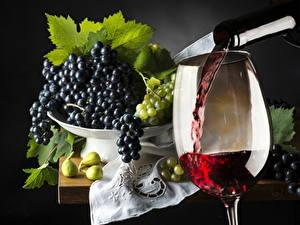 Фотографии Вино Виноград Бокалы Пища