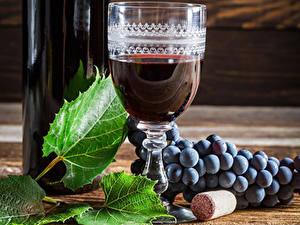 Картинка Вино Виноград Бокалы Листва Еда