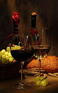 Картинка Вино Виноград Бокалы 2 Пища