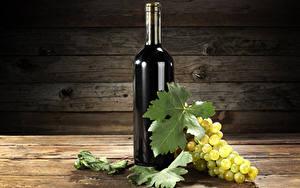 Фотографии Вино Виноград Доски Бутылка Листва