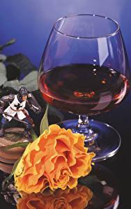 Картинка Вино Розы Бокалы Пища