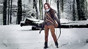 Обои Зимние Лучники Воины Rise of the Tomb Raider Снег Косплей Лара Крофт Девушки