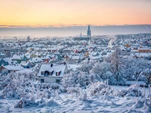 Картинка Зимние Германия Здания Снега Сверху Regensburg