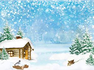 Обои Зимние Здания Птица Снег Ель Снежинки Шаблон поздравительной открытки Природа