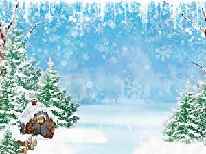 Обои для рабочего стола Зима Здания Снеге Ель Снежинки Шаблон поздравительной открытки Природа