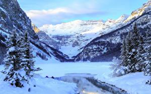 Обои Зимние Горы Канада Озеро Парки Пейзаж Снег Банф Louise Yoho Природа