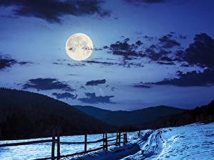 Картинки Зимние Небо Горы Снега Ночные Луны Облако