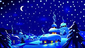 Картинки Зимние Небо Векторная графика Снег Луна Ночные Ель Природа