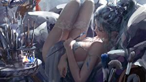 Картинки Чулках Ног Красивая Рука Лежа Wlop Фантастика Девушки