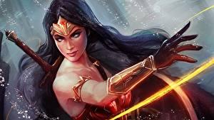 Фотографии Чудо-женщина герой Рисованные Воины Руки Брюнетка Фантастика