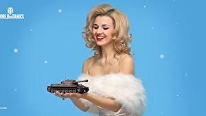 Картинки WOT День победы Блондинки Улыбается Мейкап Подарок Прически Karina компьютерная игра Девушки