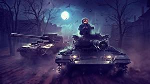 Фотография Танк WOT Хеллоуин Ночные Луна by Sergey Avtushenko Игры