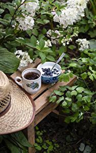 Обои для рабочего стола Йогурт Черника Чай Ветвь Чашка Миска Продукты питания