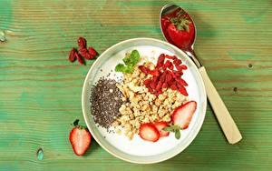 Картинка Йогурт Клубника Завтрак Здоровое питание Ложка Миска Продукты питания