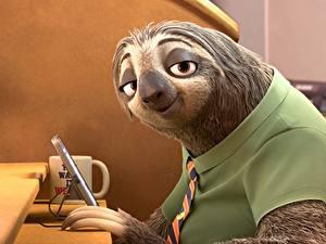 Фотографии Смотрит Zootopia, Sloth Мультфильмы 3D_Графика