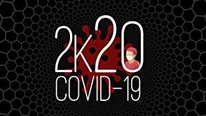 Фотографии Коронавирус Черный фон 2020 Слово - Надпись Английский Covid 19