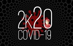 Фотографии Черный фон 2020 Слово - Надпись Английский coronavirus, Covid 19