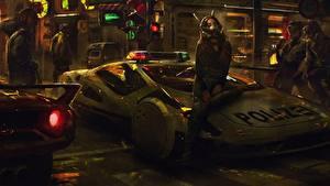 Фотография Полицейская Сидит cyberpunk Фэнтези Девушки Автомобили