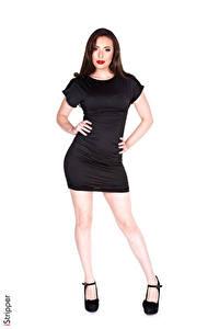 Фотография iStripper Casey Calver Белом фоне Брюнетки Руки Платье Ноги Туфлях Девушки