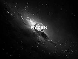 Фотографии AMD Логотип эмблема Черно белые Ryzen Компьютеры
