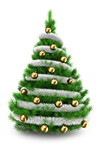 Обои Рождество Белый фон Новогодняя ёлка Шар