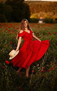 Обои Поля Шатенка Шляпа Платье Девушки