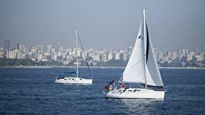 Фотографии Стамбул Турция Яхта Парусные Вдвоем