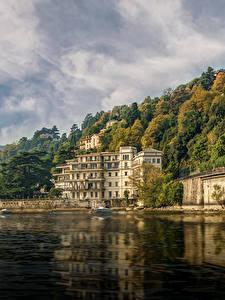 Фотография Италия Озеро Здания Берег Венеция Hotel Villa Flori Como