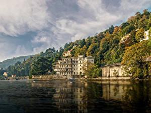 Фотография Италия Озеро Здания Берег Венеция Hotel Villa Flori Como Города