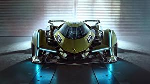 Обои для рабочего стола Ламборгини Спереди Зеленый Lambo, V12, Vision Gran Turismo, 2019 авто