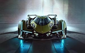 Картинка Ламборгини Спереди Зеленый Lambo, V12, Vision Gran Turismo, 2019