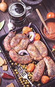 Фотография Мясные продукты Пиво Кружка Вилка столовая