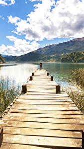Обои США Озеро Пристань Горы Облако Природа