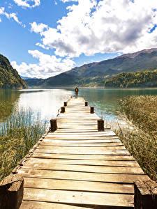 Обои США Озеро Пристань Горы Облака Природа