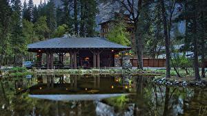 Обои США Парк Здания Пруд Йосемити Деревьев Ahwahnee Hotel