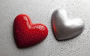 Фото День всех влюблённых Серый фон Сердечко 2 Капли