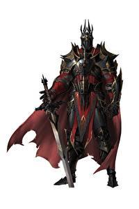 Картинки Воин Рыцарь Белом фоне Доспехи Плащ В шлеме Меча ilsu jang Фэнтези